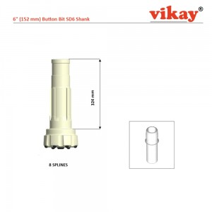 "6"" Button Bit - 152 mm x SD6 Shank"