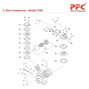 Bare Compressor IR 7100 Air Compressor Parts